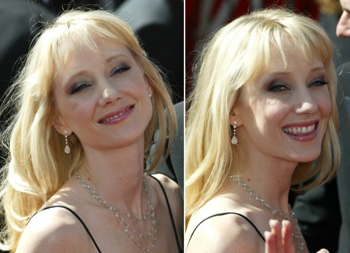 Anne Heche's long hairstyle with layers