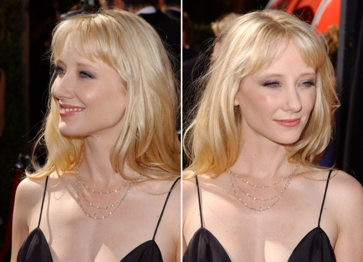 Side view of Anne Heche's long layered hairstyle