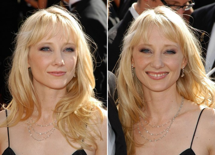 Anne Heche with long hair flowing over her shoulder