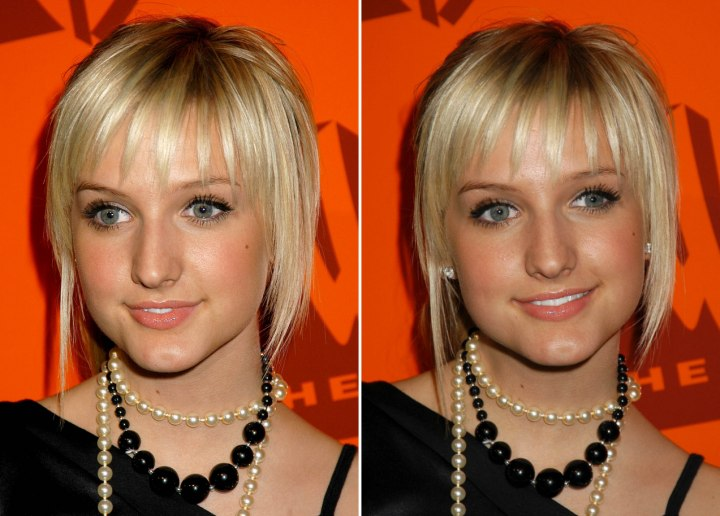 Hairstyle with textured bangs - Ashlee Simpson