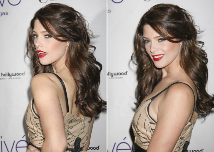 Side view and back view of Ashley Greene's long hairstyle