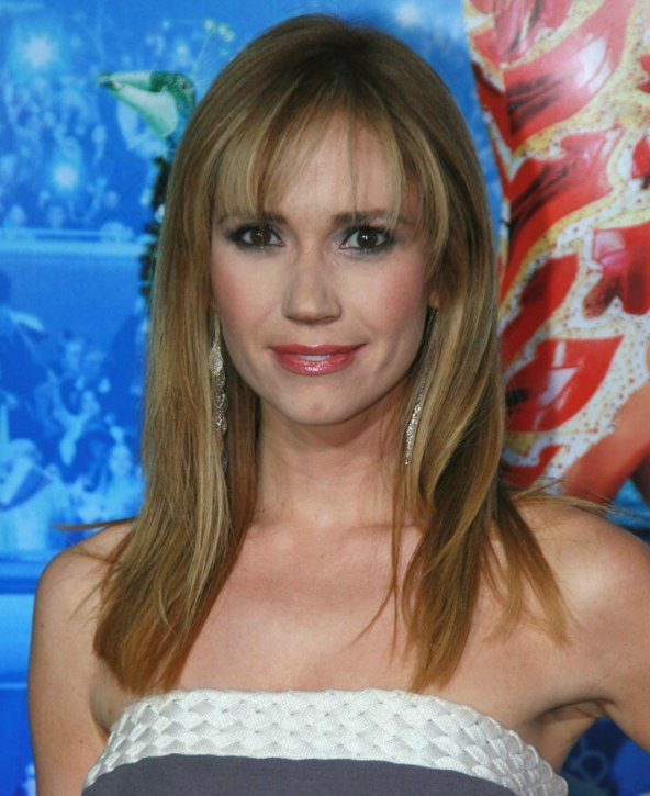 Ashley Jones Wearing Her Hair Long With Cute Bangs Hugging