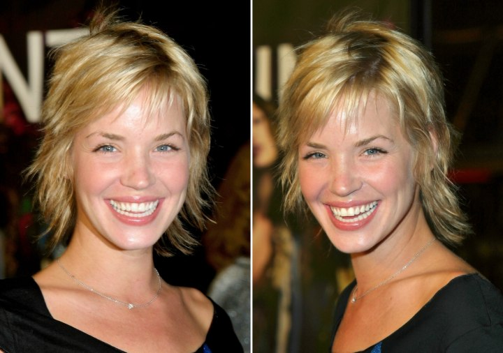 Ashley Scott with her short hair in a shag with chopped ends
