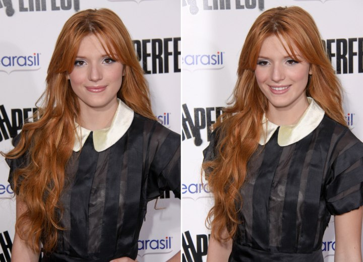 Bella Thorne with very long red hair
