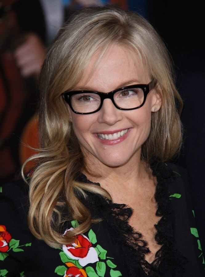 Rachael Harris Black Frame Glasses And Long Hair With