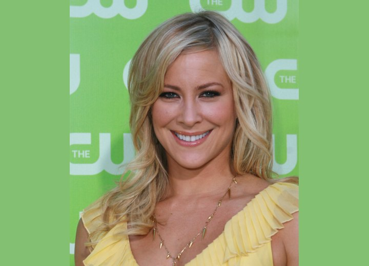 Brittany Daniel - Long layered haircut with off-center parting
