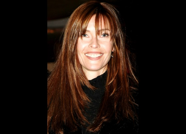 Carol Alt - Long hairstyle with angled sides