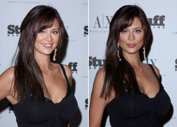 Catherine Bell with long breast length hair
