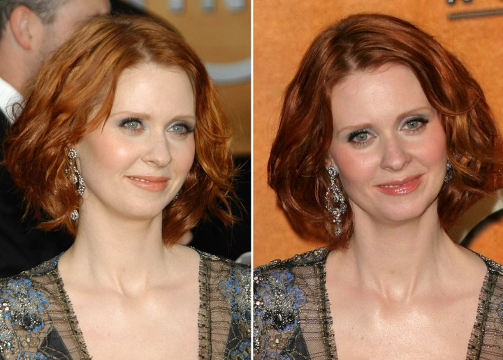 Cynthia Nixon - Semi-short hairstyle that covers the neck