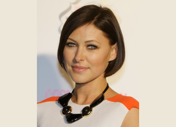 Emma Willis sporting a chin length bob hairstyle