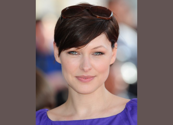 Emma Willis wearing a pixie with swooped bangs
