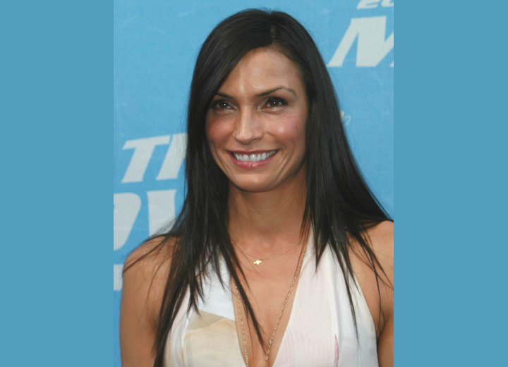 Famke Janssen with long open hair