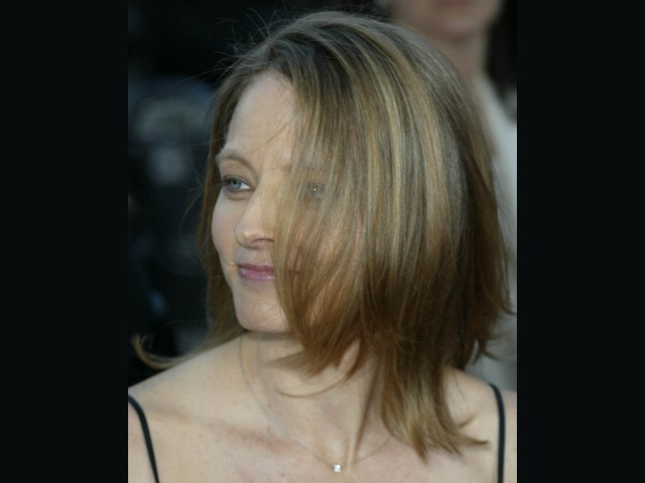 Jodie Foster with hair hanging in her face