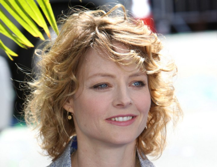 Jodie Foster sporting a hairstyle with curls