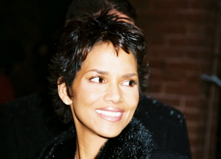 Halle Berry with a spiky short haircut