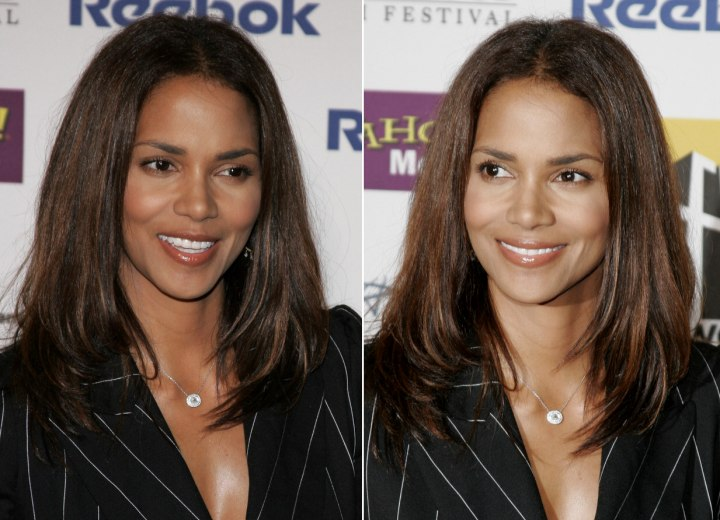 Halle Berry Sporting A Long Straight Hairstyle With Movement