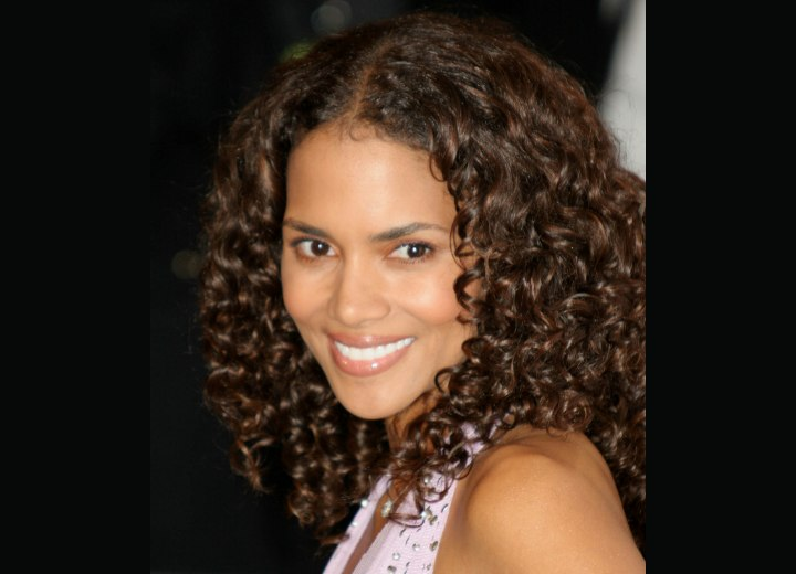 Halle Berry wearing long hair with spiral curls
