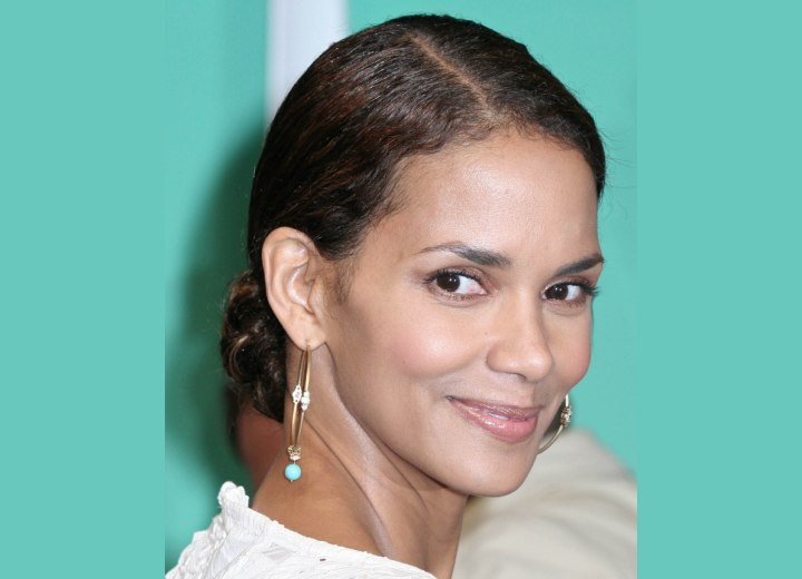 Halle Berry - Updo with her hair styled snug to the scalp