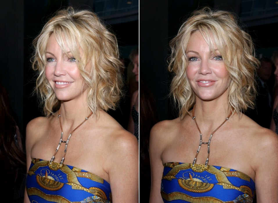 Heather Locklear With Her Hair Short And Cut Into A One Length Bob