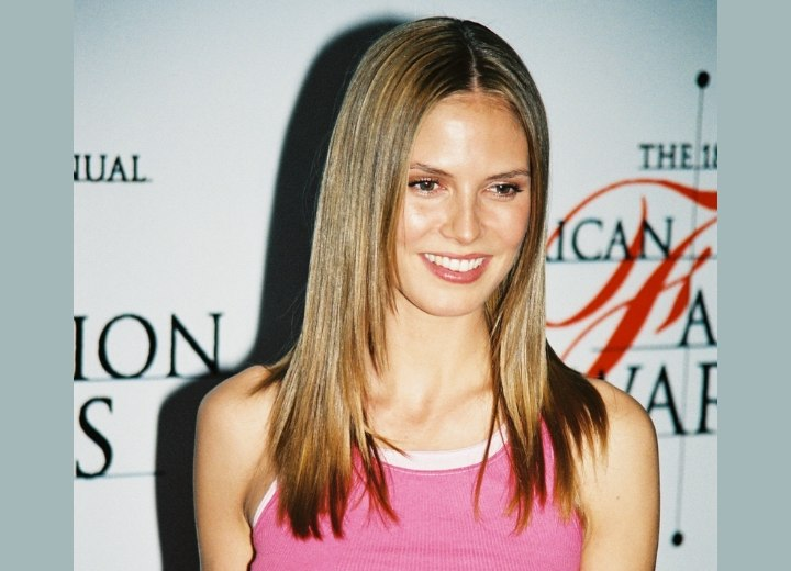 Heidi Klum - Long hairstyle with chopped ends