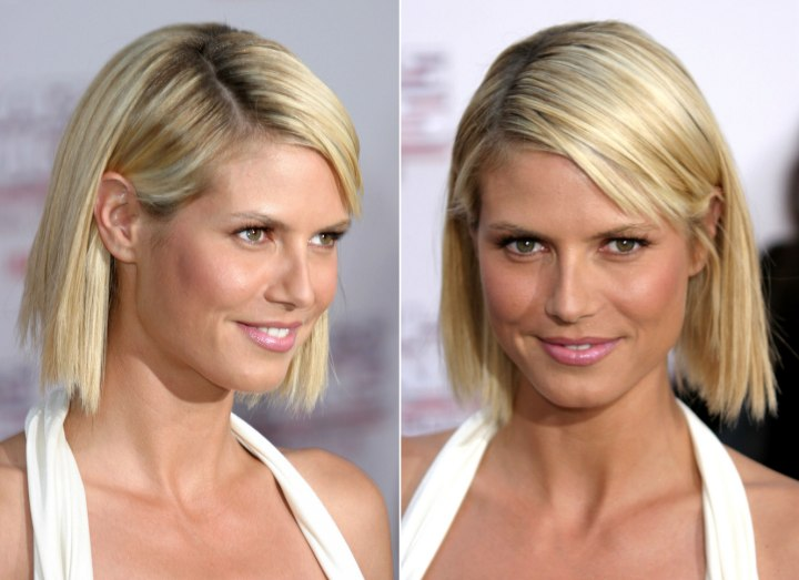 Heidi Klum With Her Hair In A Just Above The Shoulders Chopped Bob