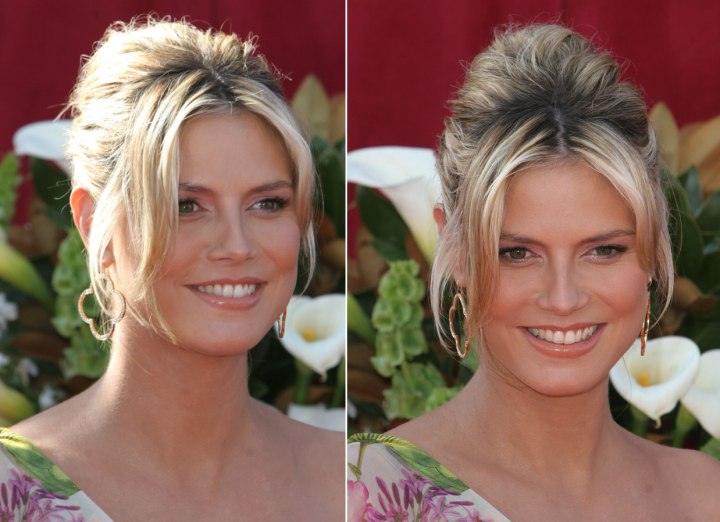Heidi Klum with her hair up in a French twist