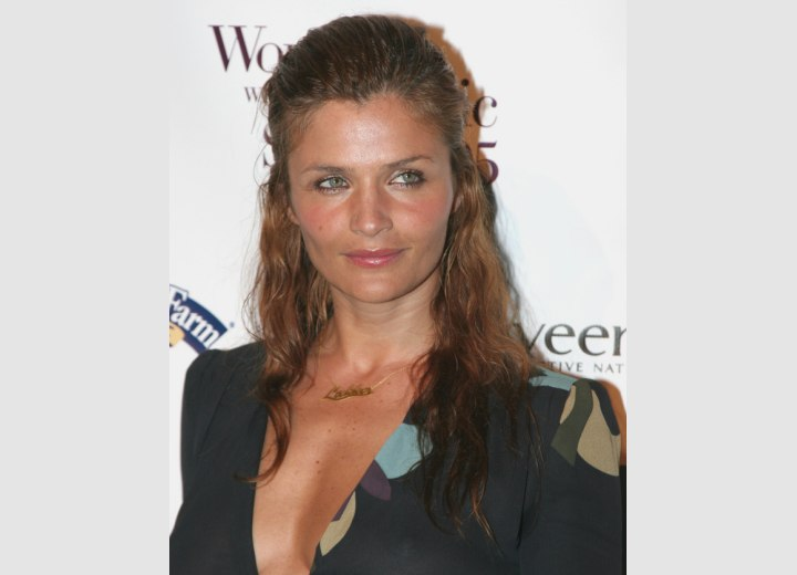 Helena Christensen with her hair pulled back