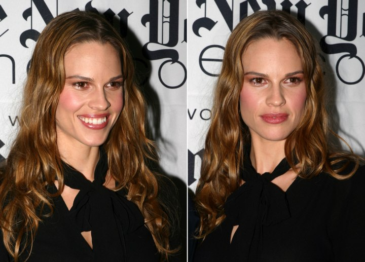 Hilary Swank with long hair