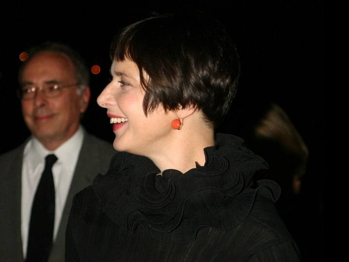 Isabella Rossellini's short hair with bangs