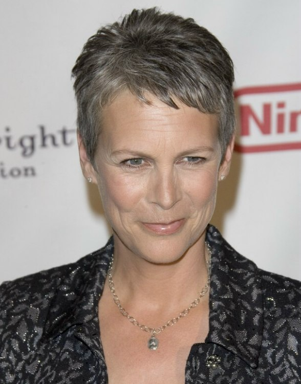 Jamie Lee Curtis With Silver Hair Classy And Very Short Haircut