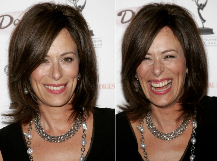 Jane Kaczmarek with neck length hair