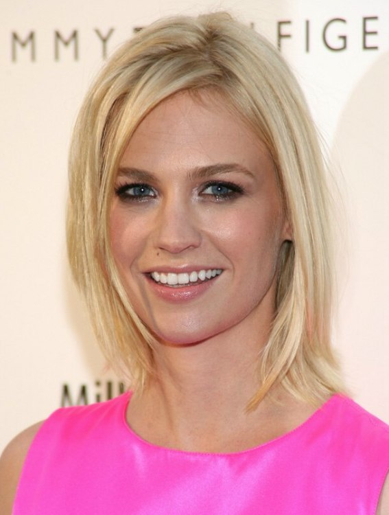 January Jones Medium Length Blonde Hairstyle With A Flip