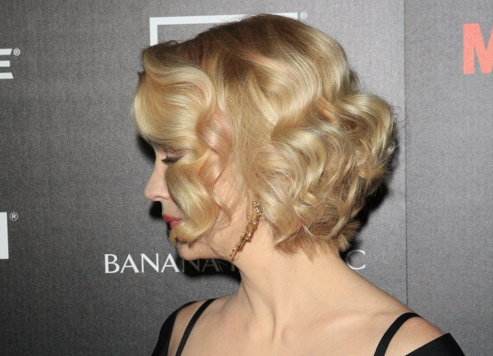 January Jones wearing a short angled bob hairstyle