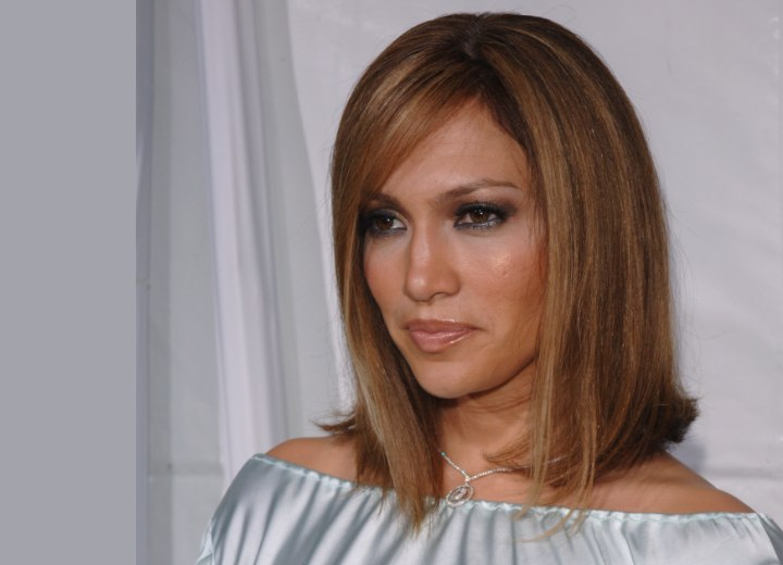 brown hair blonde highlights. Blunt Cut Medium Length Hair