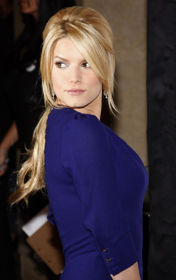 Marvelous Jessica Simpson 60S Fashion Low Ponytail With Hair Wrapped Around It Hairstyle Inspiration Daily Dogsangcom