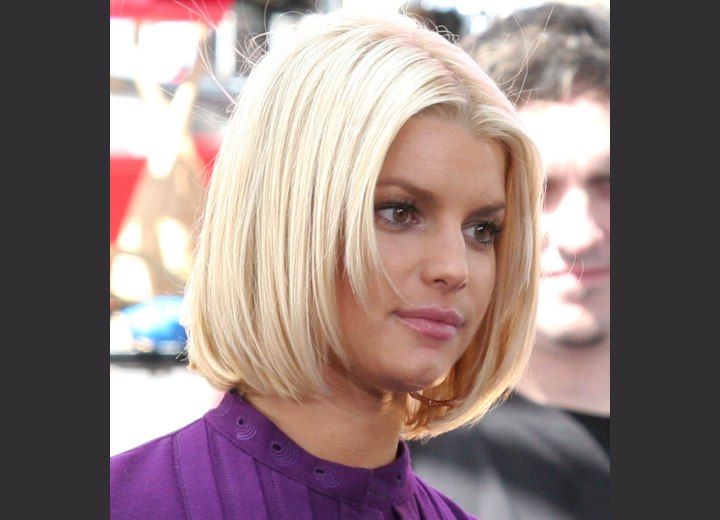 Jessica Simpson - Bob haircut with a longer back