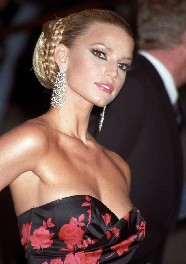 Jessica Simpson Wearing Her Hair Pulled Back Into A