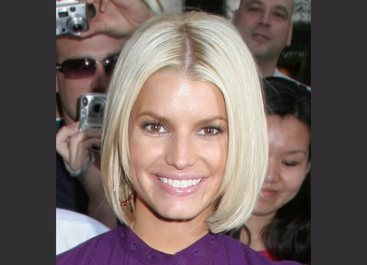 Jessica Simpson's bob styled with an inward curve
