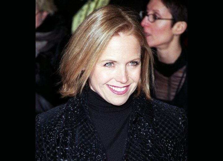 Katie Couric with stiff straight hair