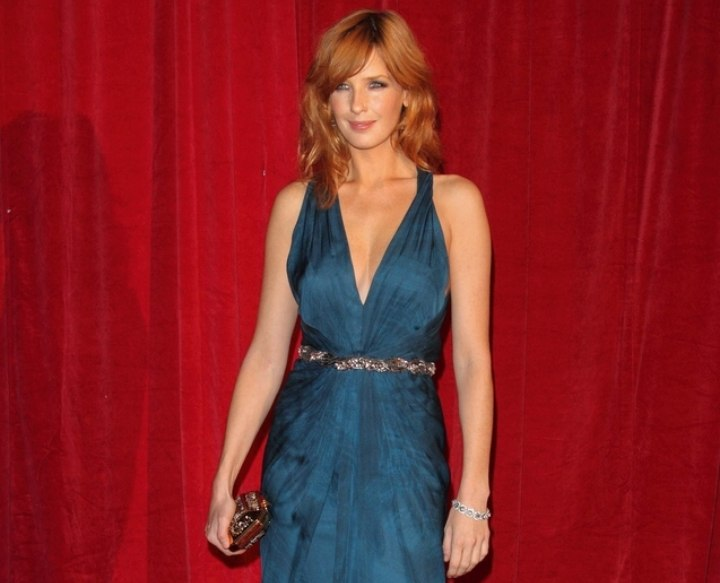 Kelly Reilly wearing a floor-length chambray fabric gown