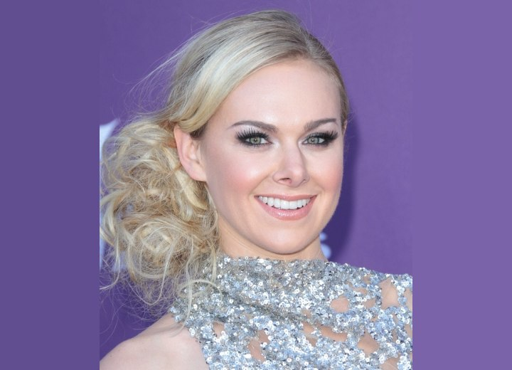 Laura Bell Bundy wearing her hair in a loose updo