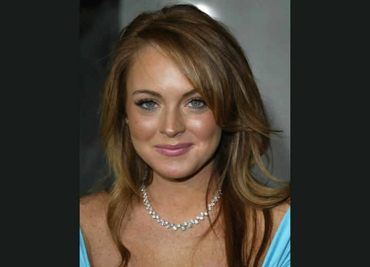 Lindsay Lohan's blonde hair with brown stripes