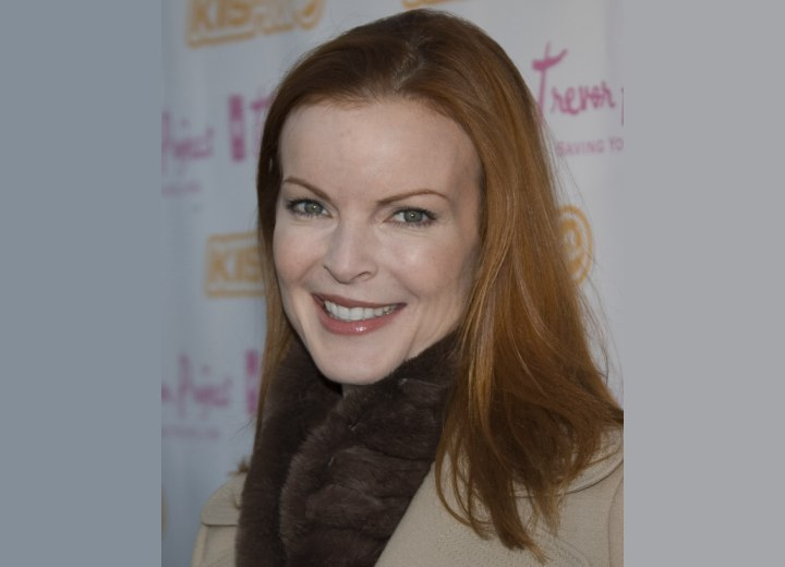 Marcia Cross with fiery red hair