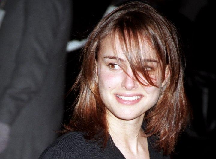 Natalie Portman With Shimmering Medium Long Brown Hair