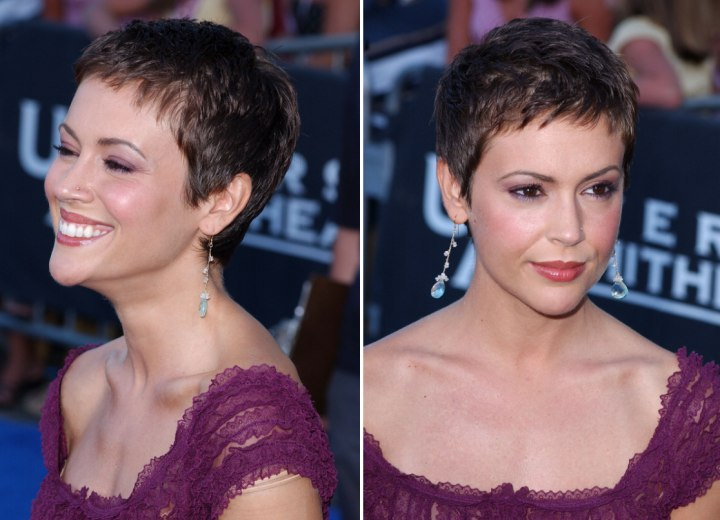 Alyssa Milano wearing her hair in a short pixie