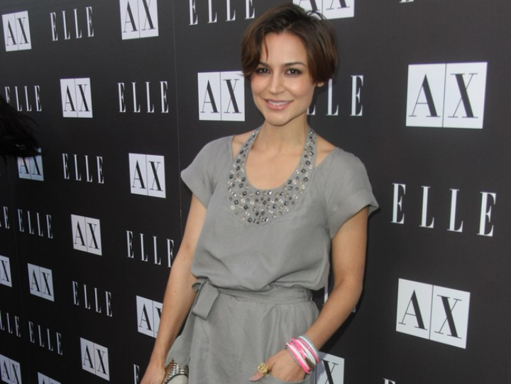Samaire Armstrong wearing a grey dress with jewelled colar