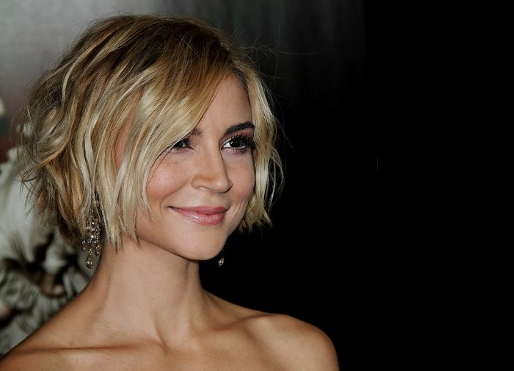 Side view of Samaire Armstrong's short hairstyle