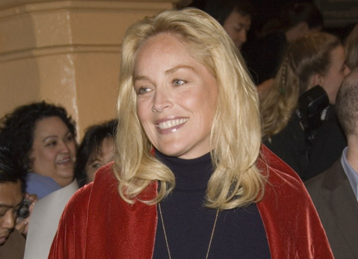 Sharon Stone sporting long curly hair