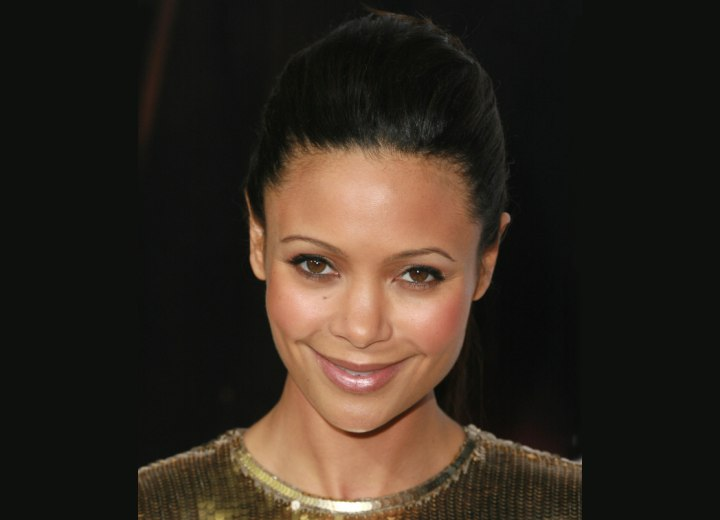 Thandie Newton - Updo with pouf on top of the head and tight sides