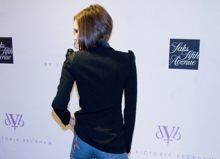 Back view of Victoria Beckham's graduated bob
